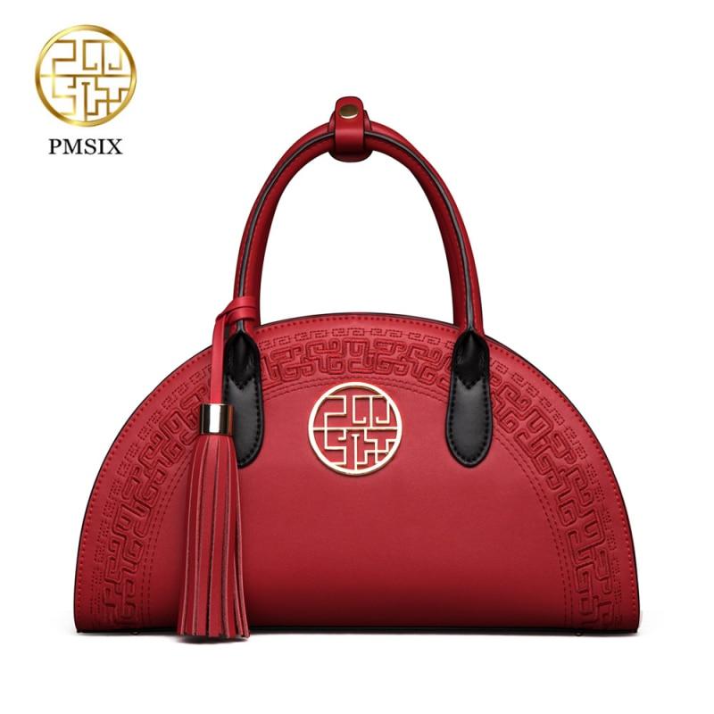 PMSIX 2019 ახალი რთველი ძროხის ტყავის ჩანთები ჩინური სტილის Shoulder Bag წითელი / შავი ნაქარგები საქორწილო მოდის საცდელი ჩანთები P120024