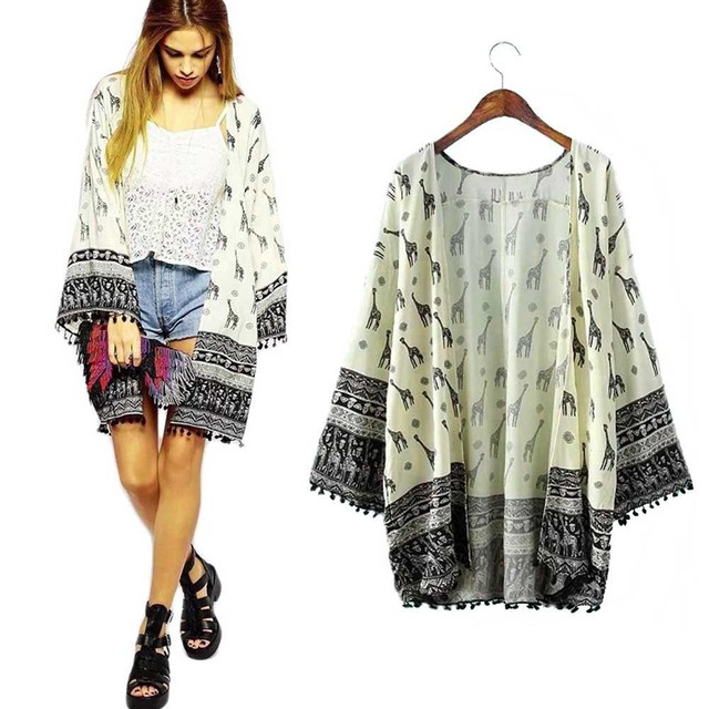 Women Giraffe Pattern Printed Cardigan Blouse Tops Beach Cover Up