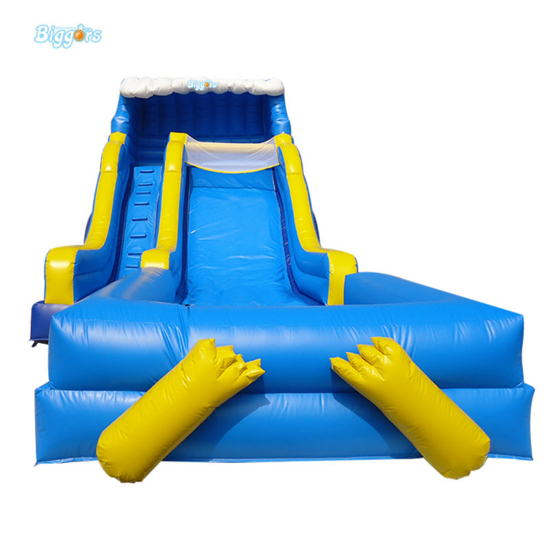 Inflatable Biggors Blue Color Giant Inflatable Slide Playing With Water For Sale inflatable biggors kids inflatable water slide with pool nylon and pvc material shark slide water slide water park for sale