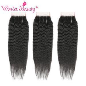 Image 4 - Kinky Straight Hair Bundle With Closure Brazilian Hair Weave Bundlles Wonder Beauty Human Hair Bundles with Closure Non Remy