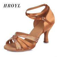 High Quality Rhinestone Dance Shoes/Satin Latin Dance Shoes/Salsa Party Tango Ballroom Shoes For Danceing Women Girls Ladies