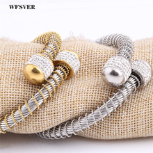 WFSVER new design gold/silver color screw bracelet&bangle women stainless steel Wristbands bracelet with crystal jewelry 2018 exquisite women bangle black ceramic with silver stainless steel shining crystal trendy cut section bracelet wedding gifts