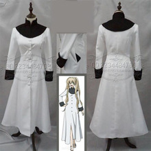Bloqueo de sangre Battlefront Kekkai Sensen Mary Blanco Cosplay Larga Bata Blanca para la Fiesta de Halloween