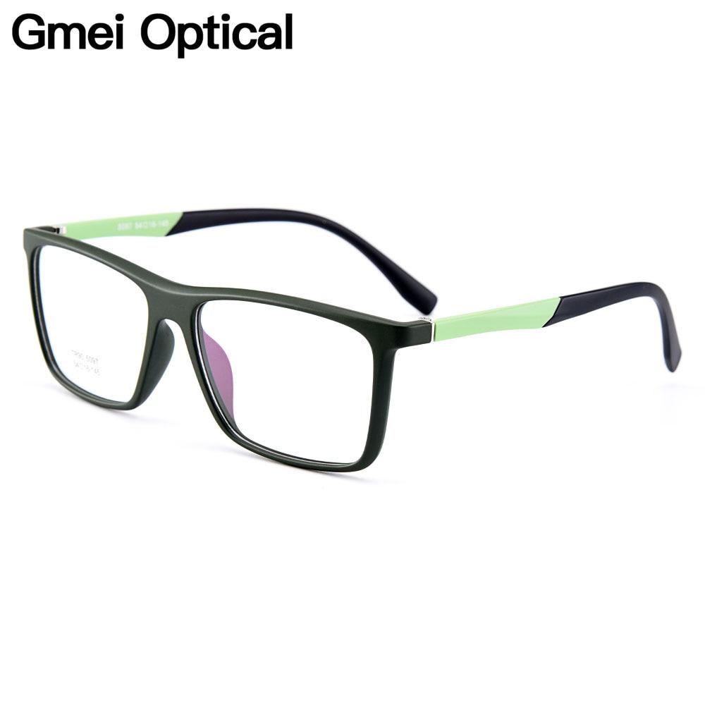 Gmei Optique Élégant Urltra-light TR90 Rectangulaire Jante Optique Montures De Lunettes Pour Hommes Femmes Myopie Presbyte Oculos M5097