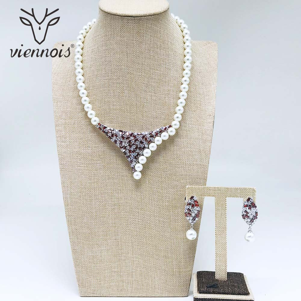 Viennois New White Simulated Pearl Rhinestone Drop Earrings Necklace Jewelry Set for Women Female Party Jewelry SetsViennois New White Simulated Pearl Rhinestone Drop Earrings Necklace Jewelry Set for Women Female Party Jewelry Sets