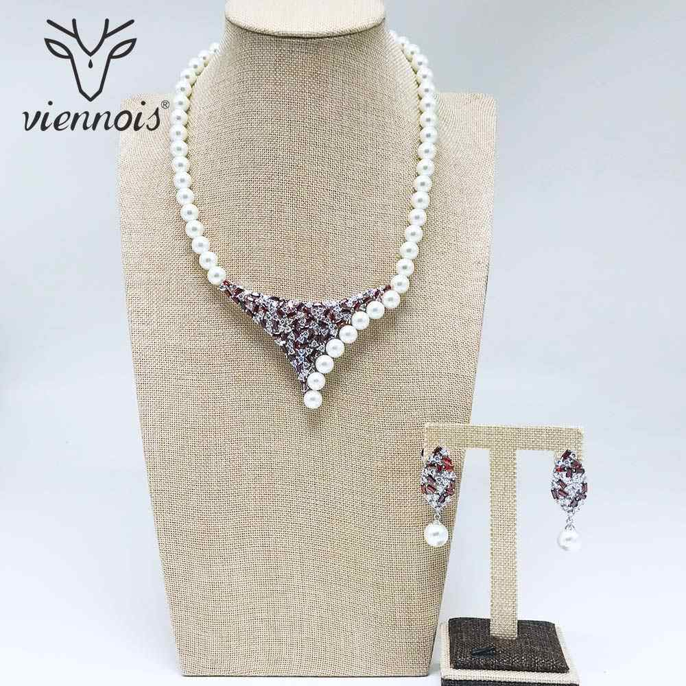 Viennois New White Simulated Pearl Rhinestone Drop Earrings Necklace Jewelry Set for Women Female Party Jewelry Sets