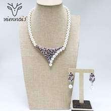 Viennois New White Simulated Pearl Rhinestone Drop Earrings Necklace Jewelry Set for Women Female Party Jewelry Sets(China)