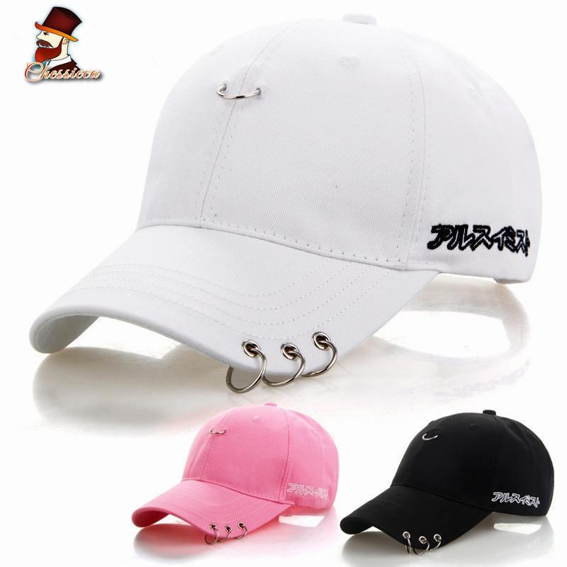 CHESSIECA 2018 High Quality Ring Hoop Baseball Cap Safety Pin Hip Hop Hats For Men Women Sport Fishing Cap Dad Hat Casquette