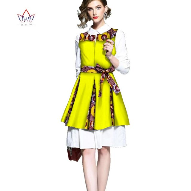 dress 2018 african autumn party dresses two pieces shirt and vest dress clothing cotton long sleeve dress for women none WY2480