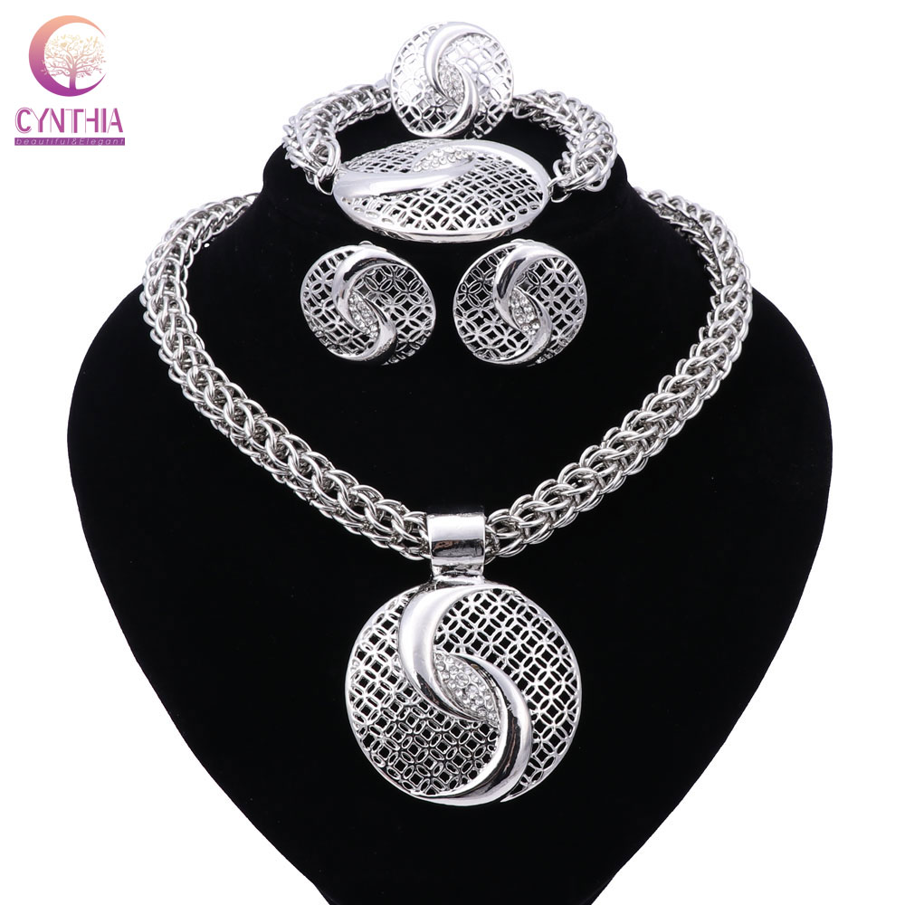 New Exquisite Dubai Jewelry Set Luxury Silver Plated Big Nigerian Wedding African Beads Jewelry Set Costume
