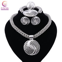 New Exquisite Dubai Jewelry Set Luxury Silver Plated Big Nigerian Wedding African Beads Jewelry Set Costume