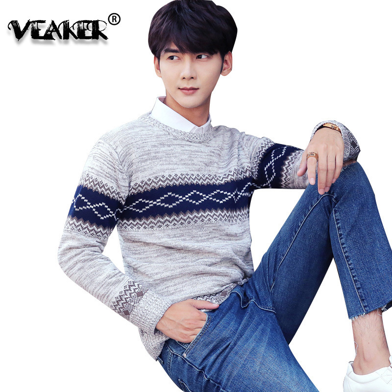Casual Sweater Pullover O-Neck Slim Knitting Mens Autumn Fashion-Brand Fit 3XL Coloured
