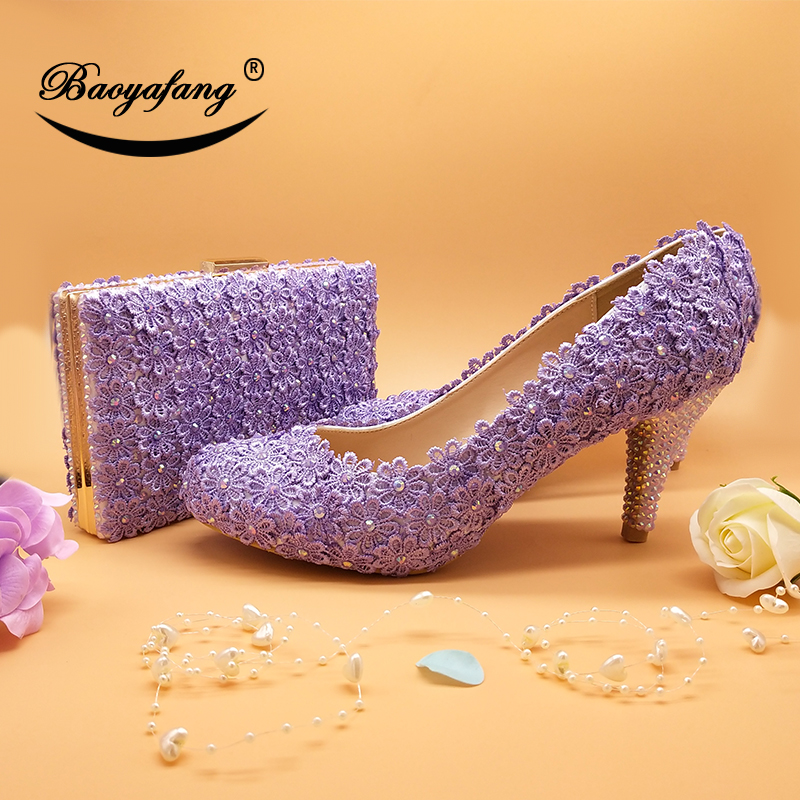 BaoYaFang violet Flower Wedding shoes with matching bags Ladies  woman sweet party dress shoe Pointed Toe PumpsBaoYaFang violet Flower Wedding shoes with matching bags Ladies  woman sweet party dress shoe Pointed Toe Pumps