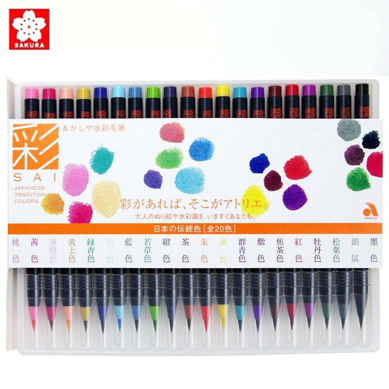 20 couleurs japon Sakura Akashiya marqueur pinceau stylo aquarelle peinture Nylon pointe souple pinceau dessin Manga aquarelle marqueurs