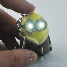 16units/lot New Despicable Me Minions Movie Action Figures LED Sound and Light Keychain Key Ring Retail Free Ship