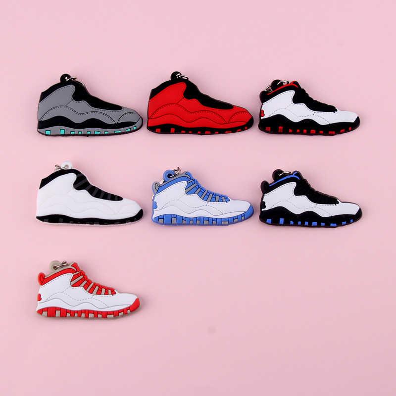 Брелок Новые экзотические мини Jordan 10 ретро обуви ключевая цепь Для мужчин и Для женщин детские подарочные брелки на баскетбольных кроссовок ключ держатель Porte Clef