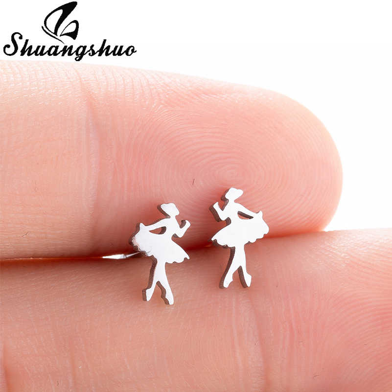 Shuangshuo Cute Tiny Ballet Girls Earrings for Women Kids Jewelry Fashion Stainless Steel Stud Earrings Elegant Fancy Ear Studs