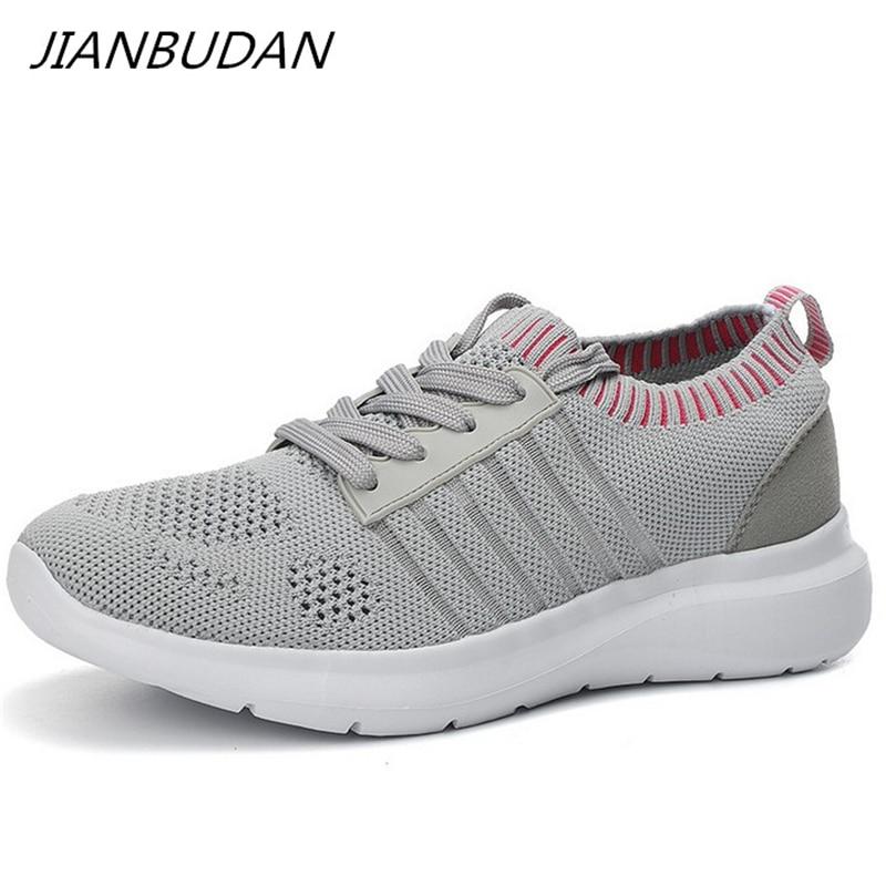 JIANBUDAN/ Women's autumn Lightweight casual shoes flying weaving mesh Breathable running shoes Outdoor walking shoes 35-41 size