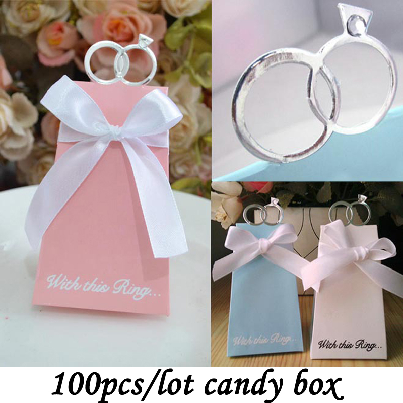 Hot Selling 100PCS/Lot Wedding Party Decorate White Diamond Ring Style Gift Box Candy Favors Paper Bag