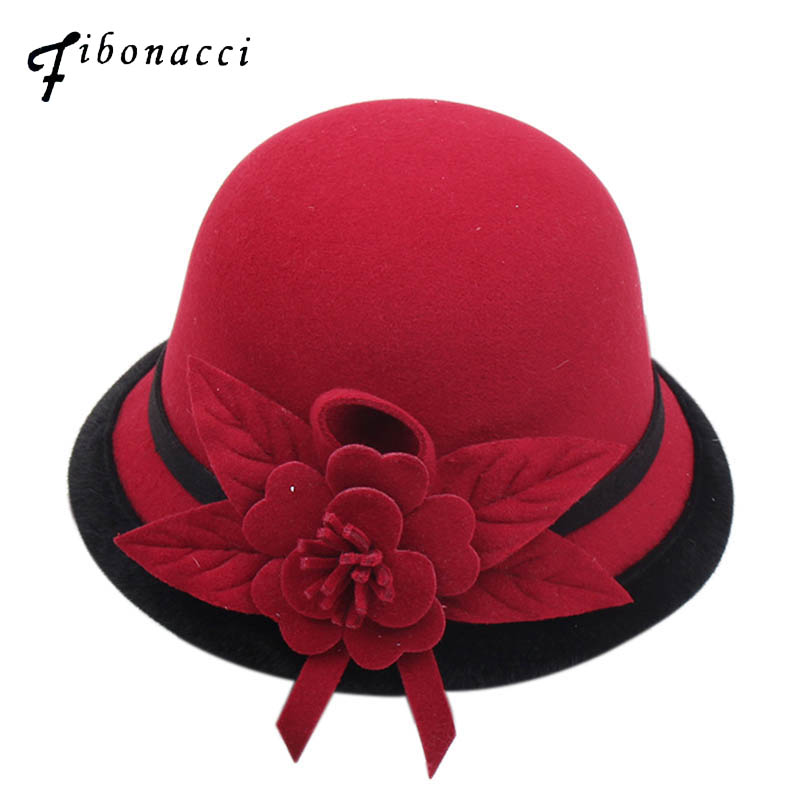 Fibonacci 2018 New Autumn Winter Female Fedoras Lmitation Wool Felt Women Hats Fashion Bucket Floral Fedora Hat in Women 39 s Fedoras from Apparel Accessories