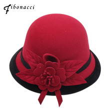 Fibonacci 2018 New Autumn Winter Female Fedoras Lmitation Wool Felt Women Hats Fashion Bucket Floral Fedora Hat