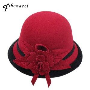 Image 1 - Fibonacci 2018 New Autumn Winter Female Fedoras Lmitation Wool Felt Women Hats Fashion Bucket Floral Fedora Hat