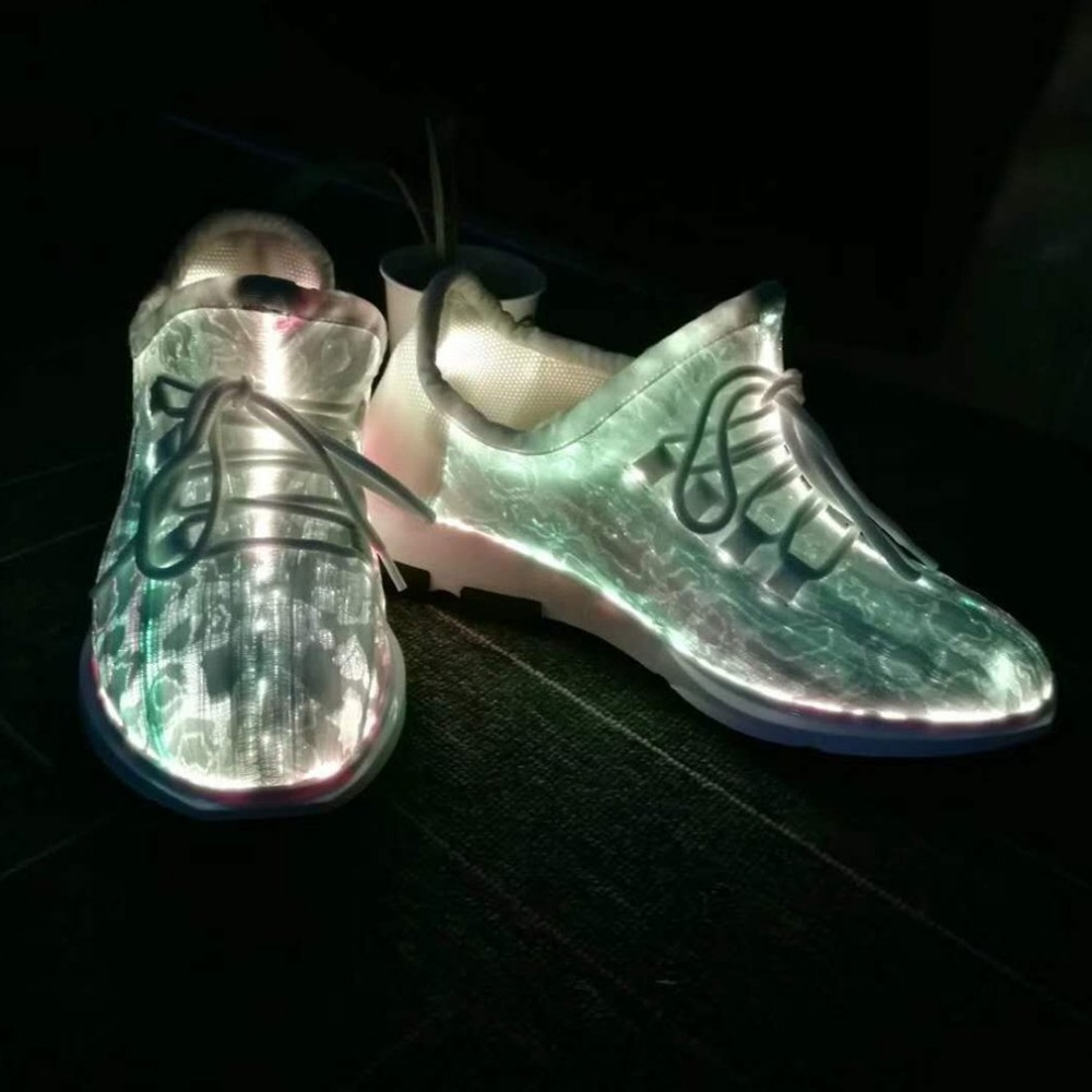 Men Women Trend Sneakers Lace Upper Running Night Shoes 7 Colors LED Luminous Colorful Glowing Shoes for Party Dancing Hip-hop size 36 43 led shoes glowing 7 colors led women fashion luminous led light up shoes for adults