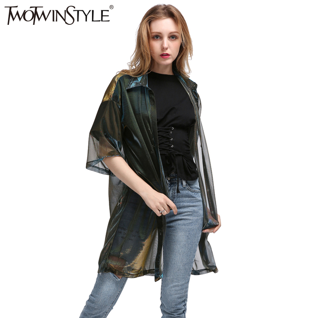TWOTWINSTYLE 2017 Summer Women Half Sleeve Colorful Transparent Long Tops Shirts Blouse Big Sizes Cardigan Clothes Korean Casual
