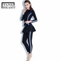 Tank Heart Tankini Set Rash Guard Rashguard Women Lycra Surf Swimwear Long Pants Long Sleeve Swimsuit Rowing Sport Swimdress XXL