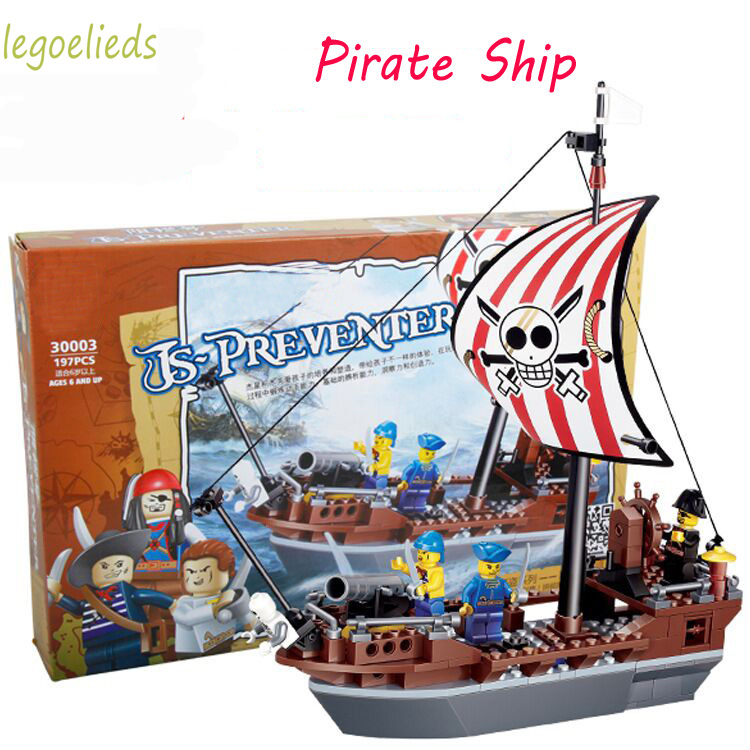 197pcs Pirate Ship Building Blocks Toy Set Captain Sailor Pirate Figures Enlighten Bricks Toy Compatible with Pirates Caribbea susengo pirate model toy pirate ship 857pcs building block large vessels figures kids children gift compatible with lepin