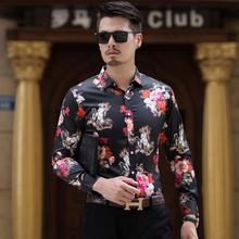New Model Shirts White Shirt Hawaiian Fashion Long sleeve Casual Blouse Men Black