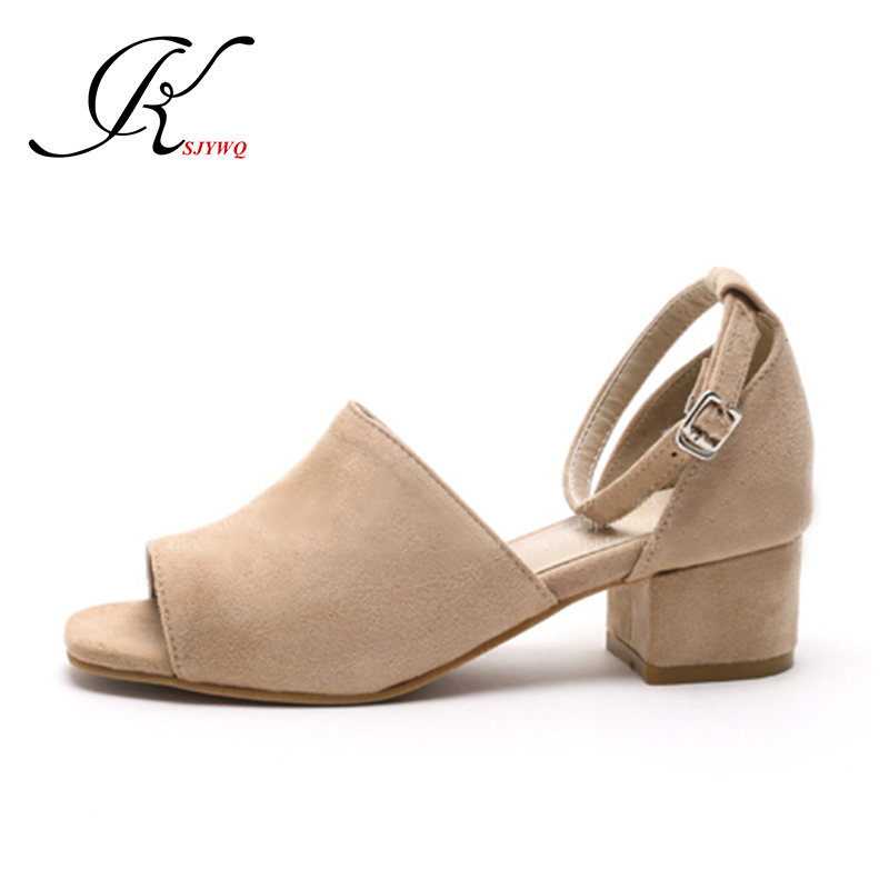 ФОТО 2017 Genuine leather Party Sandals for Women Open-toe 4.5 CM Chunky heels Sexy girls Platform Pump Shoes Woman Box Packing Z301