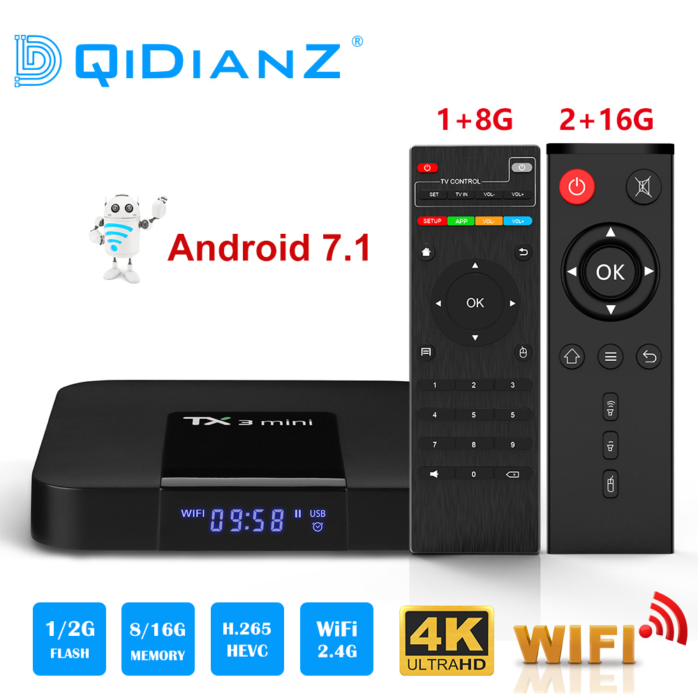 TX3 Mini TV Box S905W Quad Core 2,4 GHz WiFi Android 7,1 4 K de Netflix, YouTube reproductor de medios TX3mini set top box