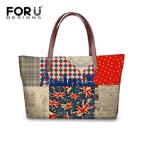 FORUDESIGNS Personalized Women Satchel Bag Printing UK USA Flag Shoulder Handbag Creative Casual Top handle Bag Large Capacity