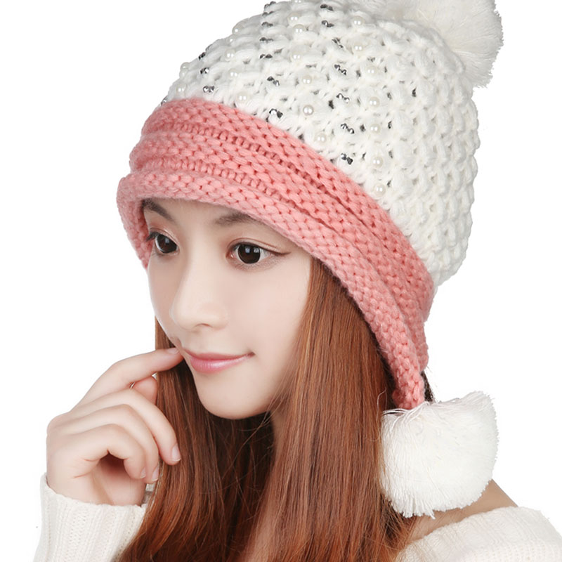 Women Warm Winter Fashion Knitting Crochet Beret Braided Baggy Hat Ear Muff Knitted Hat
