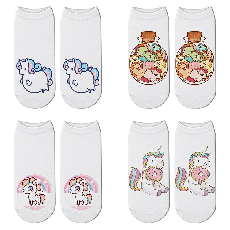 New Women 3D Printing Fat Unicorn Socks Lovely Unicorn Kawaii Meias Causal Ankle Sock Calcetines Gift Harajuku Cute Socks