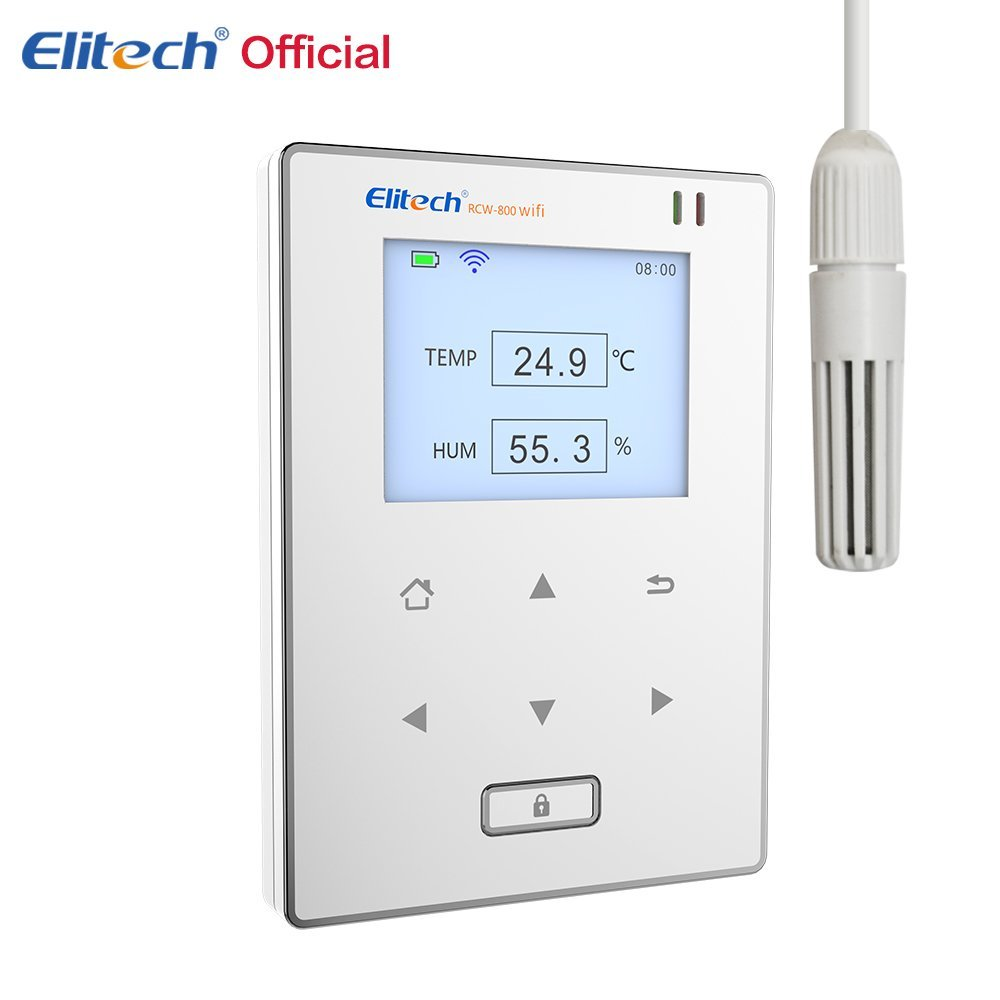 Elitech Temperatura e Umidità Wifi Data Logger, Temperatura e Umidità A Distanza Senza Fili Termometro Registratore per il Frigorifero