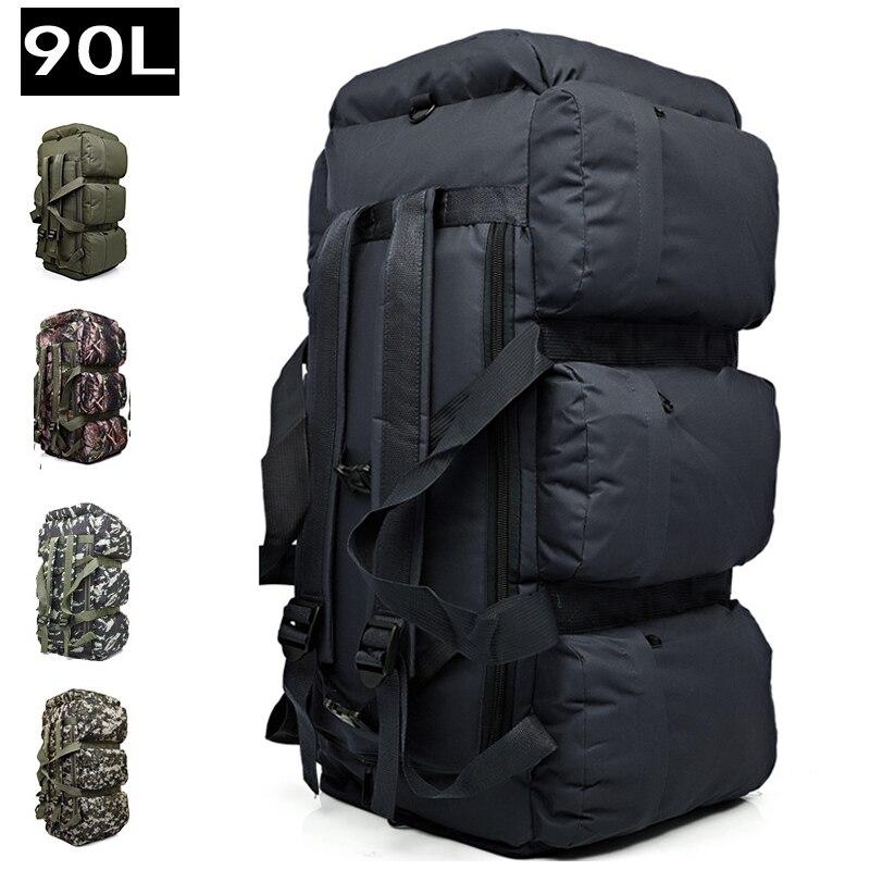 90L Grande Capacité Randonnée En Plein Air Sac À Dos Militaire Tactique Pack Camouflage Bagages Sac Camping Tente Couette Contenant 9 Poches