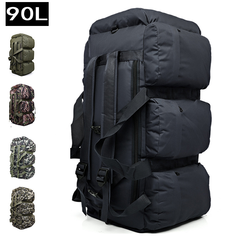 90L Large Capacity Outdoor Hiking Backpack Military Tactical Pack Camouflage Luggage Bag Camping Tent Quilt Container 9 Pockets