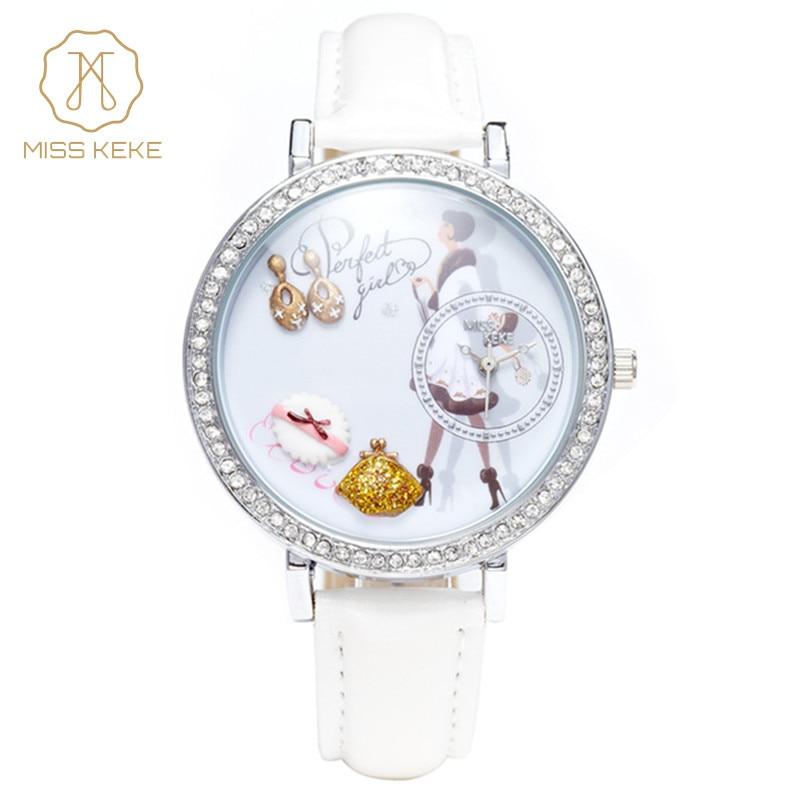 Kontor mode dam 3d lera mini word söta kvinnor klänningar klocka montre femme relogio feminin dam läder armbandsur 1031