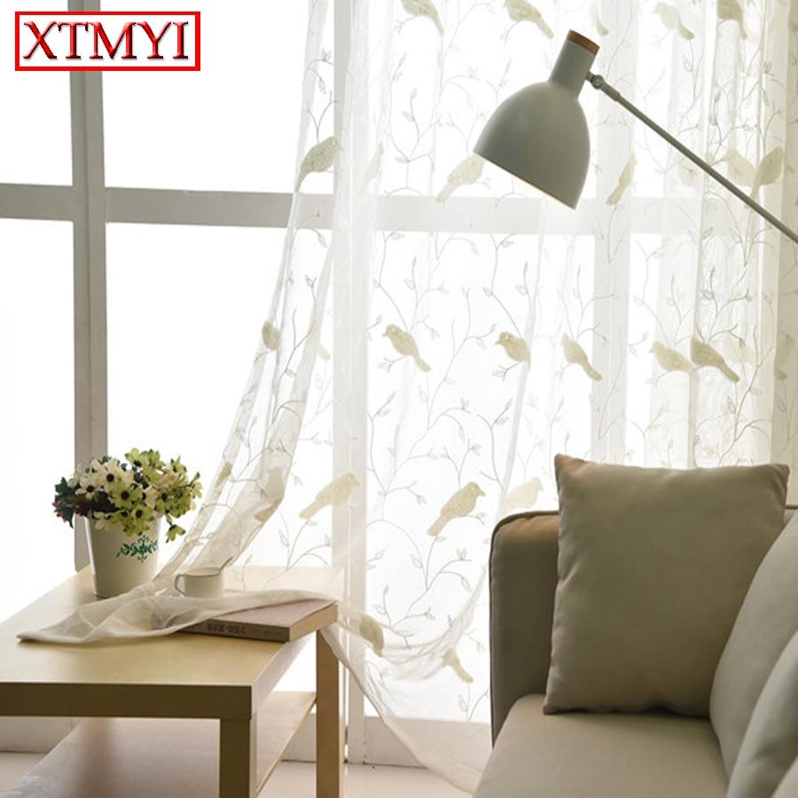 Bird sheer curtains - White Bird Embroidered Tulle Curtains For Balcony Sheer Curtains For Living Room Window Curtains Kitchen Curtains
