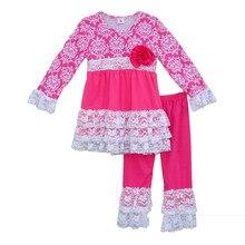 Fille Vêtements Fleur Décoration Impression Splice Col Rond Manches Longues Blouse Et Rose Rouge Pantalon Enfant Vêtements V026