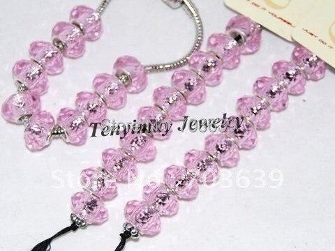 100 шт. розовый граненый большое отверстие стекло свободные бусины для браслет с подвеской «сделай сам»