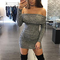 Women Long Sleeve Off The Shoulder Winter Stretch Bodycon Dress