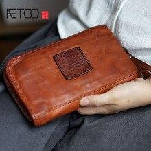 Винтажный Длинный Бумажник AETOO из яловой кожи ручной работы, для мужчин и женщин, нейтральный кошелек, сумки, винтажный Старый кошелек ручной работы