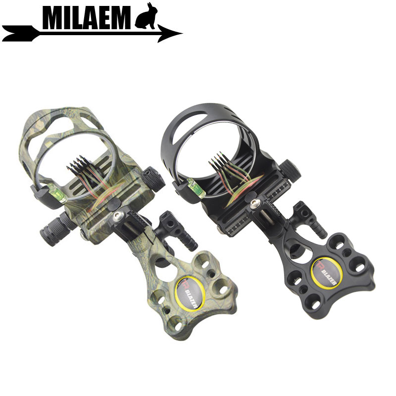 1pc Archery Compound Bow Sight 5pin 019 Optical Fiber Micro Adjustable Bow Sight with Light Outdoor