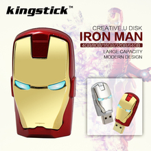 Iron man pen drive 4gb 8gb16gb 32gb Metal man pendrives USB memory flash card +LED light flash drive