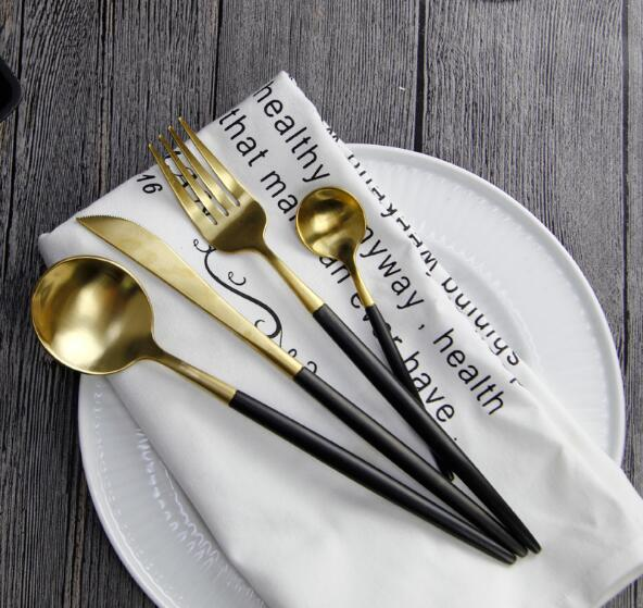 4pcs/set European Black Stainless Steel Dinnerware Set Luxury Matte Fork Knife Cutlery Set Dinner Silverware Tableware