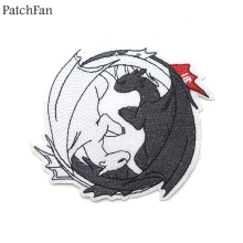 Patchfan How to train your dragon toothless light fury night Embroidered Iron on Patches Clothes wallet badge Sticker A1723