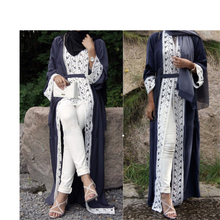 Elegant Muslim Abaya Dress Lace Cardigan Long Robes Kimono Jubah Ramadan Arabic Dubai Turkish Thobe Islamic Prayer Clothing
